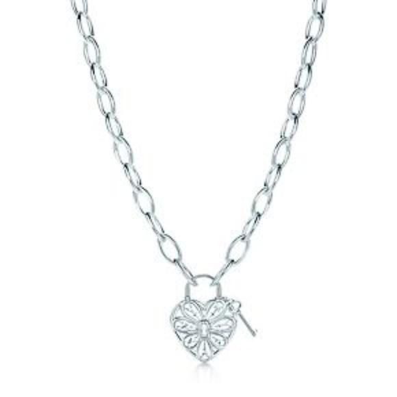 Tiffany Co Jewelry Tiffany Filigree Heart Tag W Key Necklace Silver Poshmark